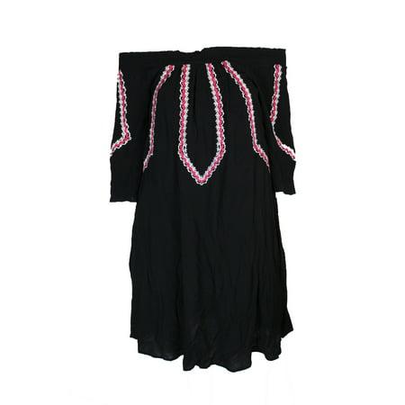 Design History Black Multi Embroidered Off-The-Shoulder Smocked Shift Dress