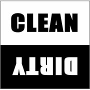 Dishwasher Magnet Clean Dirty Sign - 2.5 x 2.5 Inch Square Black & White Refrigerator Magnets -  Funny Housewarming Gifts by Flexible Magnets