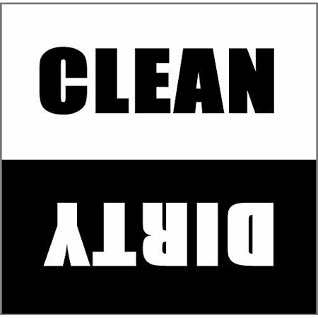 Dishwasher Magnet Clean Dirty Sign - 2.5 x 2.5 Inch Square Black & White Refrigerator Magnets -  Funny Housewarming Gifts by Flexible Magnets ()