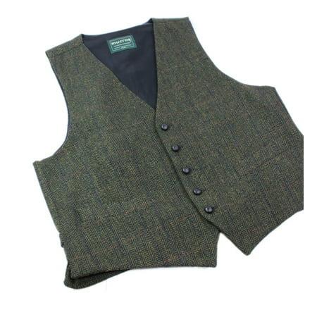 Tweed Vest Fullback Green 100% Wool from Ireland