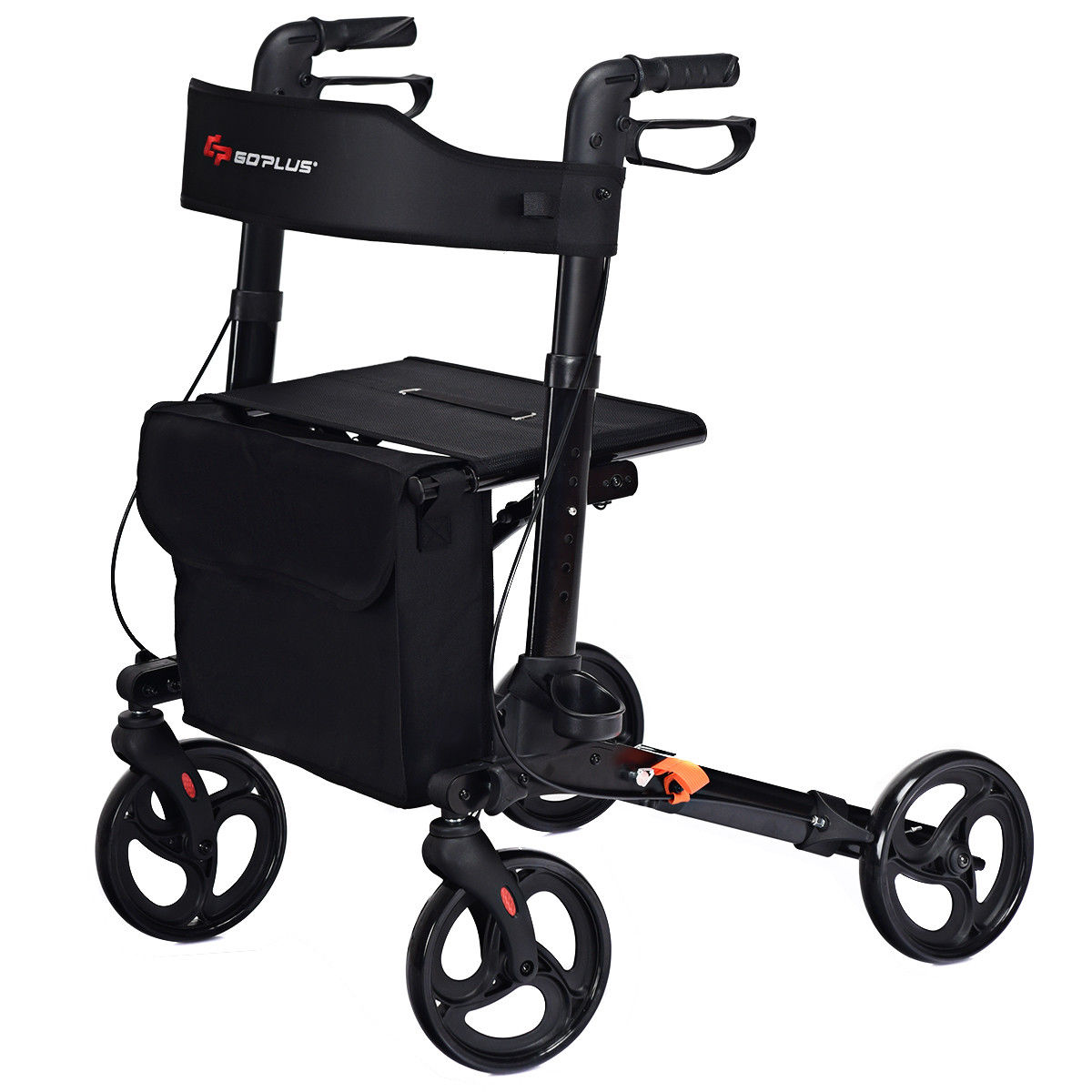 Goplus Folding Medical Rollator Lightweight Aluminum Walker Seniors w Adjustable Handle