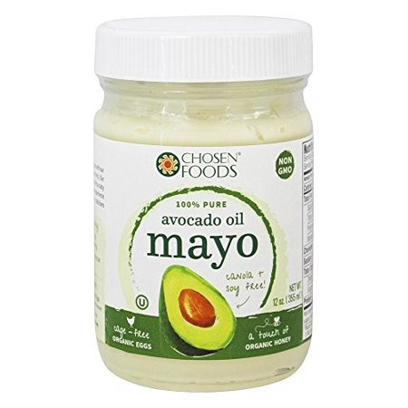 Chosen Foods Avocado Oil Traditional Mayo 12 oz , Non-GMO, 100% Pure,  Gluten Free, Dairy Free, Soy Free for Sandwiches, Dressings and Sauces