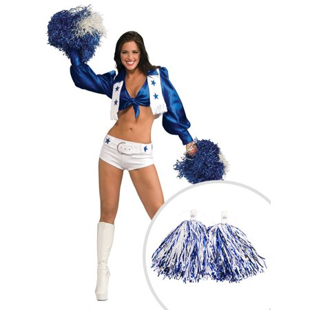 Licensed Deluxe Dallas Cowboys Cheerleader Costume for Women and Blue and White Dallas Cheerleader Pom Poms