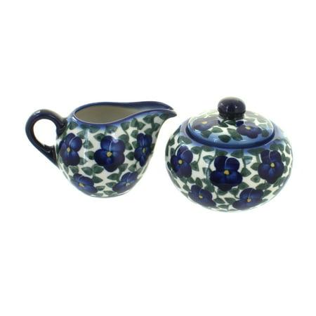 Polish Pottery Violets Sugar Bowl & Creamer Blue Mist Sugar Bowl