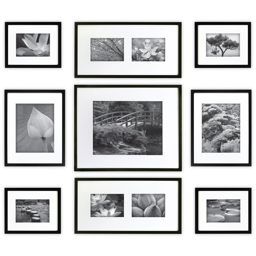 Gallery Perfect 9-Piece Black Wood Frame Kit