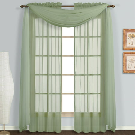 Decotex 3 Piece Sheer Voile Curtain Panel Drape Set Includes 2 Panels and 1 Scarf (63