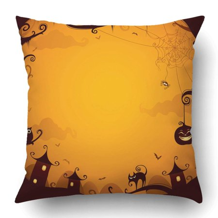 BPBOP Pumpkin Halloween Border Cartoon House Spooky Spider Bat Silhouette Night Pillowcase 18x18 inch