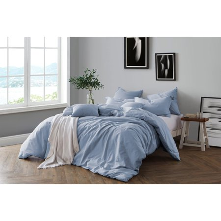 Swift Home All Natural Prewashed Yarn Dye Cotton Chambray Duvet Cover Set - Luxurous Soft, Wrinkled Look, Eco-Friendly Package