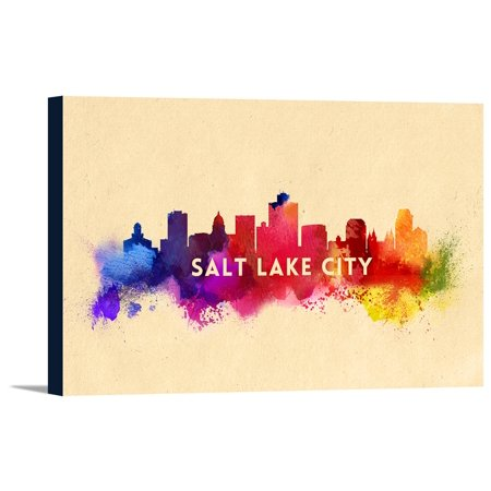 Salt Lake City, Utah - Skyline Abstract - Lantern Press Artwork (18x12 Gallery Wrapped Stretched Canvas)