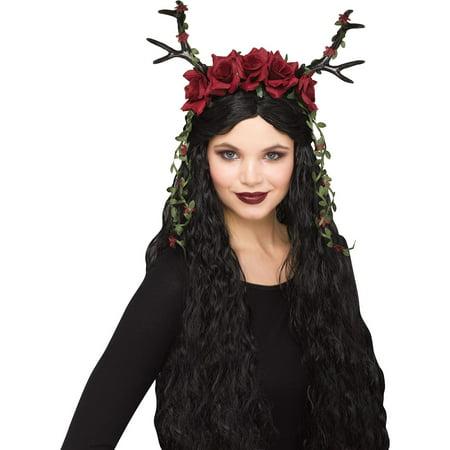 Red Floral Faun Fantasy Headband Costume Accessory