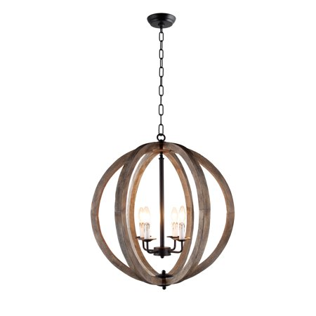 4 light Pendant Orb Chandelier in Rustic black metal and Vintage wood finish ()