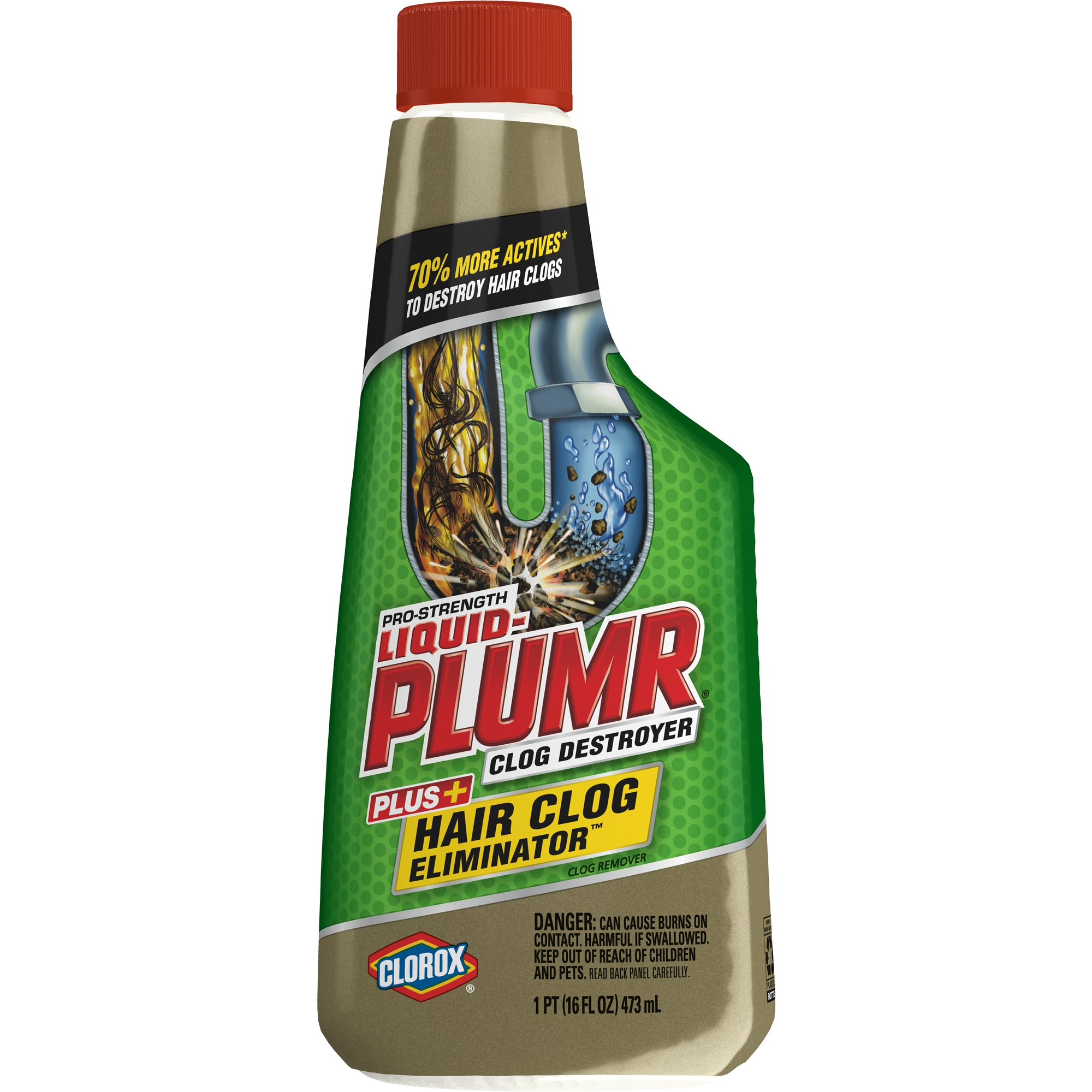 Liquid-Plumr Hair Clog Eliminator removes tough hair clogs, 16 oz