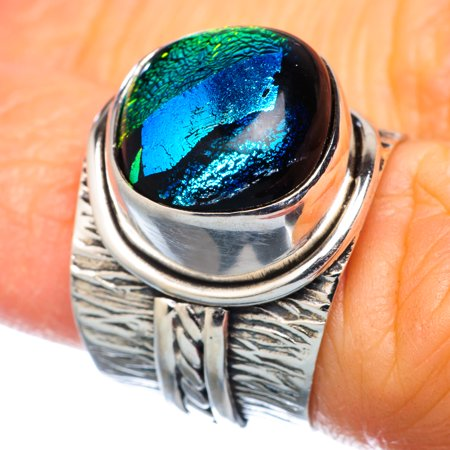Dichroic Glass Ring Size 5.75 (925 Sterling Silver)  - Handmade Boho Vintage Jewelry RING932577