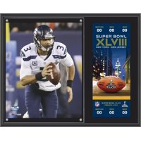 """Russell Wilson Seattle Seahawks Super Bowl XLVIII Champions 12"""" x 15"""" Plaque with Replica Ticket"""