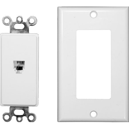Rj11 Phone Wall Plate - Morris 80161 Decorative Single RJ11 4 Conductor Phone Jack Wall Plate, 2 Piece, White