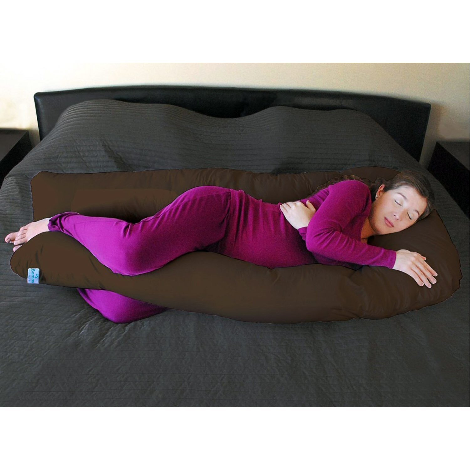 Extra Light Brown Full Body Maternity Pillow U Shaped With Easy on-off Zippered Cover - Perfect to Cuddle / Hug