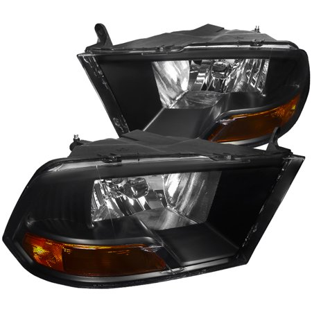 Spec-D Tuning For 2009-2019 Dodge RAM 1500 2500 3500 Euro Headlight Head Lamps Black 2009 2010 2011 2012 2013 2014 2015 2016 2017 2018 (2016 Dodge Ram 2500 Cummins For Sale)