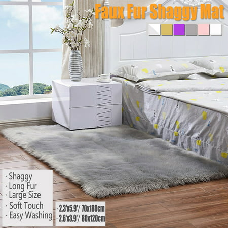 71x28 inch Faux Fur Fluffy Wool Sheepskin Rug Mat Hairy Rectangle Carpet Shaggy Area Rug Bedroom Living Dining Room Carpet Warm Mat Sofas Chair Floor Cushions 6 colors ()