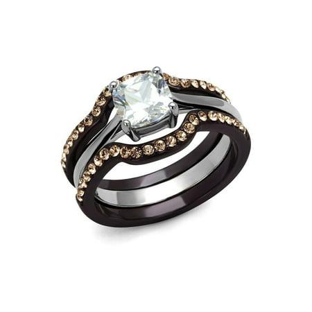 Chocolate Wedding Ring (1.5ct Cushion Bridal Wedding ring designer fashion Set Stainless Steel chocolate)