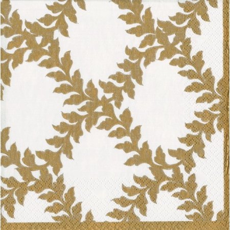 Paper Cocktail Napkins 20pk Acanthus Ivory Gold