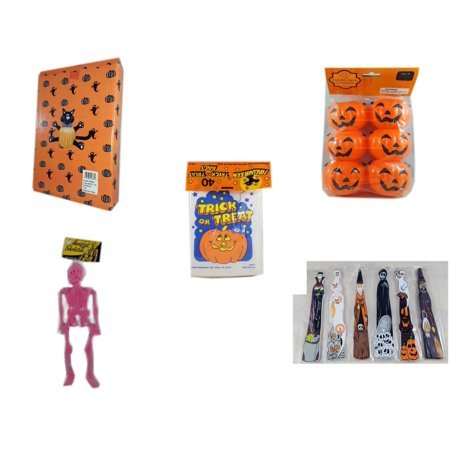 Halloween Fun Gift Bundle [5 Piece] -  Cat Pumpkin Push In 5 Piece Head Arms Legs - Party Favors Pumpkin Candy Containers 6 Count -  Trick or Treat Bags 40/ct - Hanging Skeleton Pink -  Wooden Craft - Easy Halloween Crafts And Treats