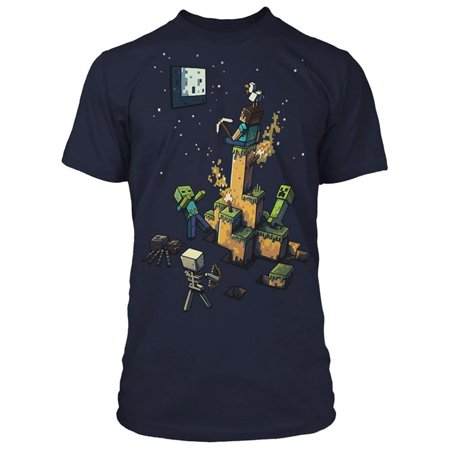 Boys Youth Tight Spot Minecraft Navy Premium T-Shirt Steve Creeper Zombie Skeleton Spider Torch Pickaxe Axe Character Graphic Video Game Tee