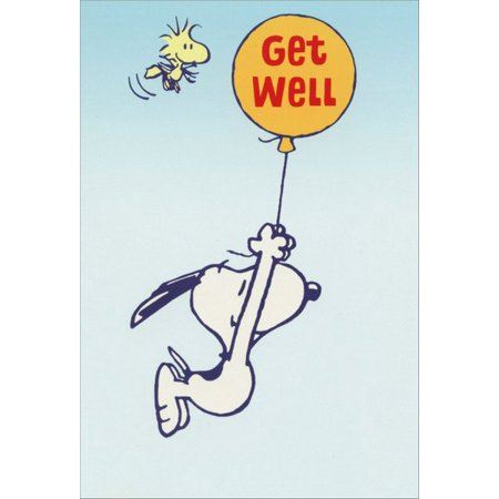 Candy Get Well Balloons (Sunrise Greetings Snoopy Hanging from Balloon Peanuts Get Well Card)