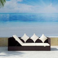 Rattan Lounge Sofa Bed Cushion Pillow Outdoor Leisure Sun Lounger Lying Chair Pool Graden Beach Chaise