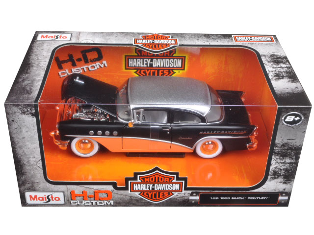 1955 Buick Century Harley Davidson Black   Orange 1 26 Diecast Model Car by Maisto by Maisto