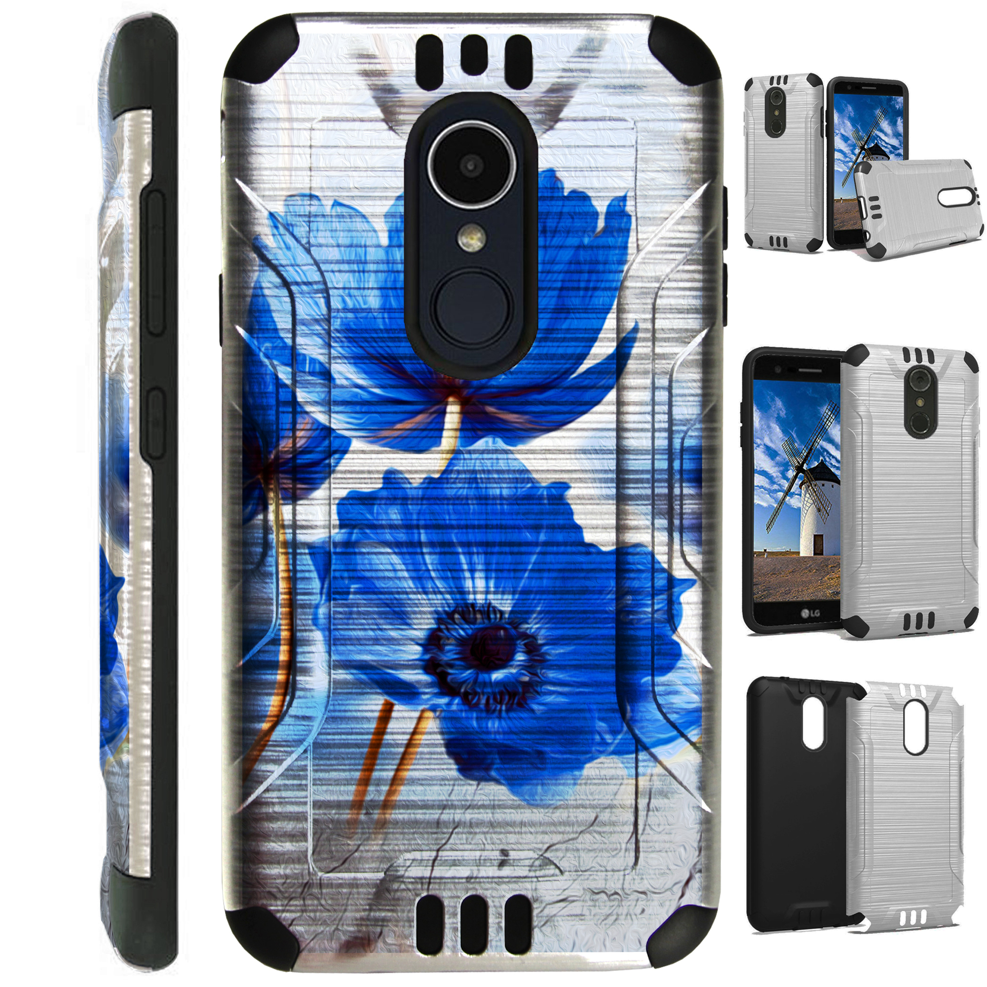 For LG Rebel 3 | LG Rebel 4 Case Brushed Metal Texture Hybrid TPU Silver Guard Phone Cover (Blue Peony Flower)