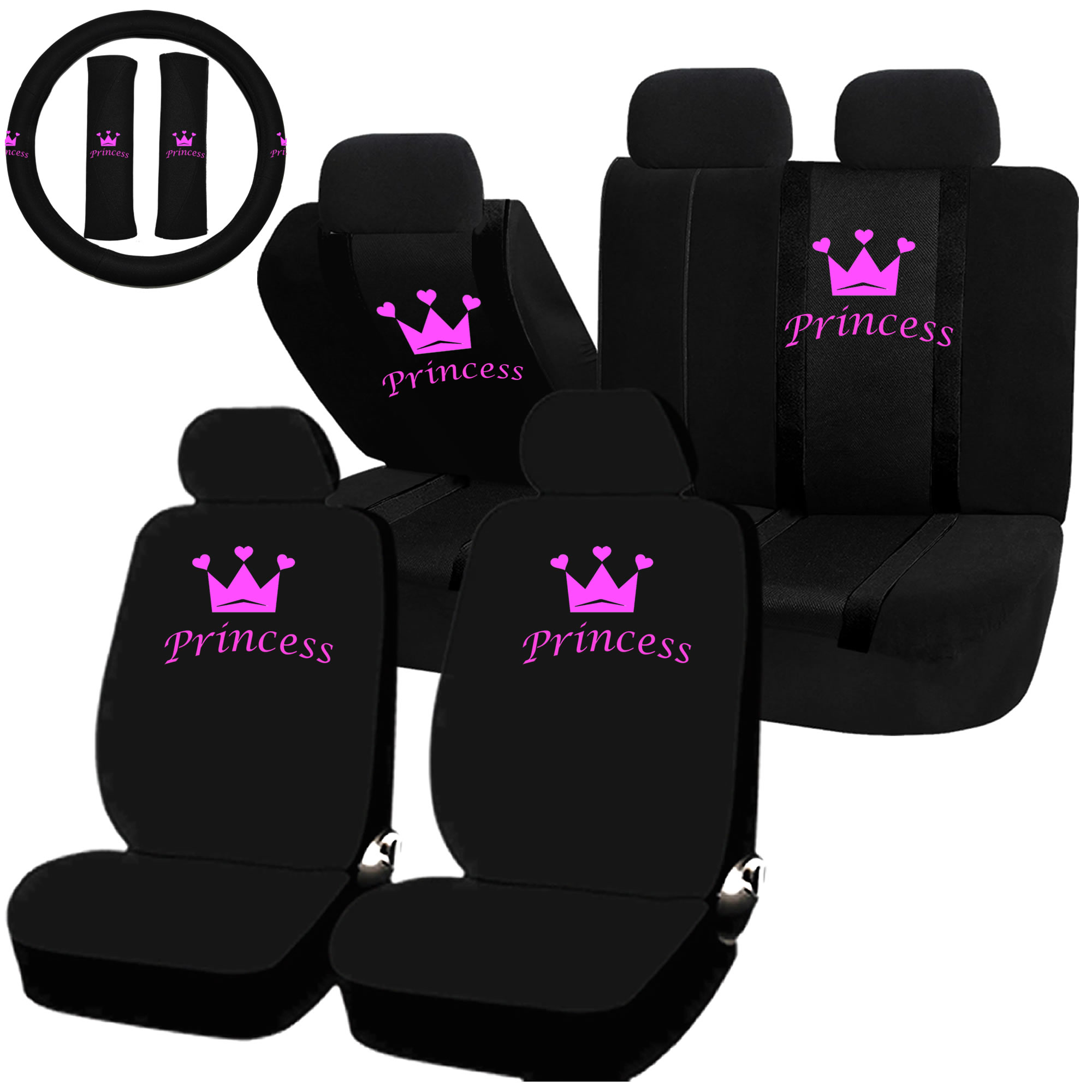 22pc Princess Pink Crown Seat Covers & Steering Wheel Set Universal Car Truck SUV