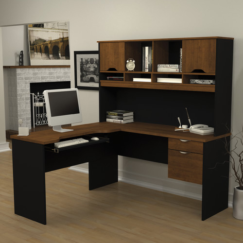 Bestar Innova L-Shape Computer Desk with Hutch