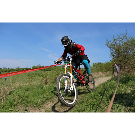 Canvas Print Race Helmet Cyclist Rally Bike Downhill Racing Stretched Canvas 32 x 24