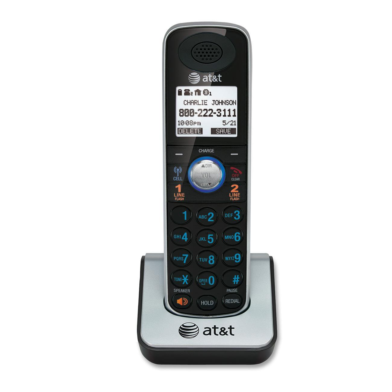 AT&T TL86009 DECT 6.0 2-line Telephone Accessory Handset, 1, Silver