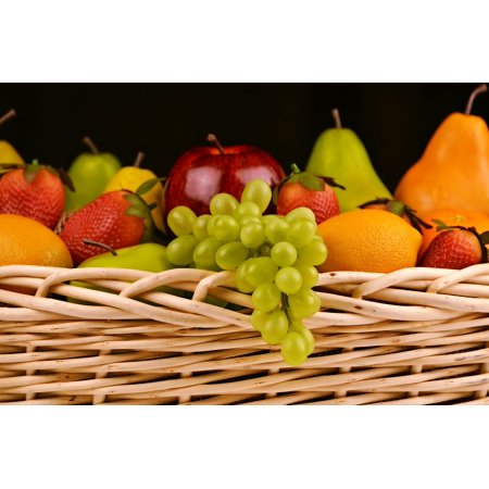 LAMINATED POSTER Grapes Pears Fruit Basket Apples Strawberries Poster Print 24 x - Strawberry Baskets