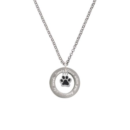 Silvertone Mini Translucent Black Paw You Needs Santa Affirmation Ring Necklace (Black Transparent Necklace)