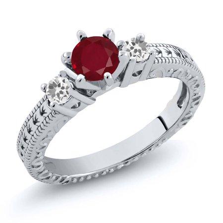 80321c5f8 Gem Stone King - 0.82 Ct Round Red Ruby White Sapphire 14K White Gold  3-Stone Ring - Walmart.com