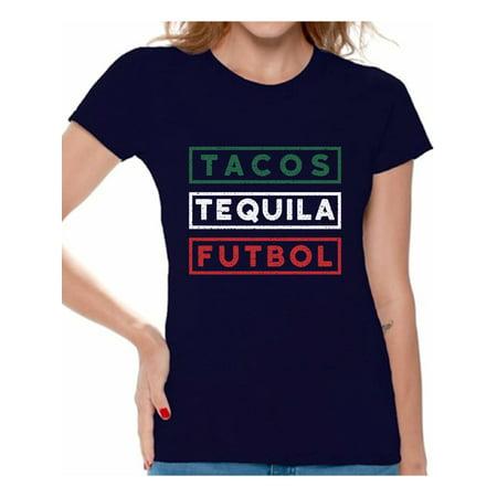 69695a27e Awkward Styles Tacos Tequila Futbol Shirt for Women Mexico Shirt Tacos and  Tequila Futbol Fan T Shirts Womens Mexican Soccer Tee Shirt Tacos & Tequila  ...