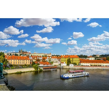 Canvas Print Czech Prague Vltava Sky Cruise Tour Boat River Stretched Canvas 10 x (Best River Boat Cruise In Chicago)