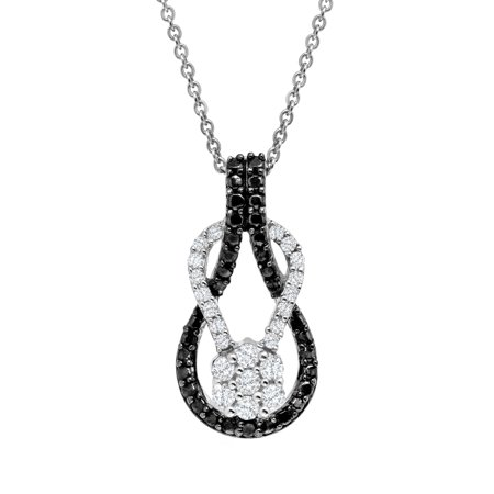 1/3 ct Black & White Diamond Loop Pendant Necklace in Sterling Silver