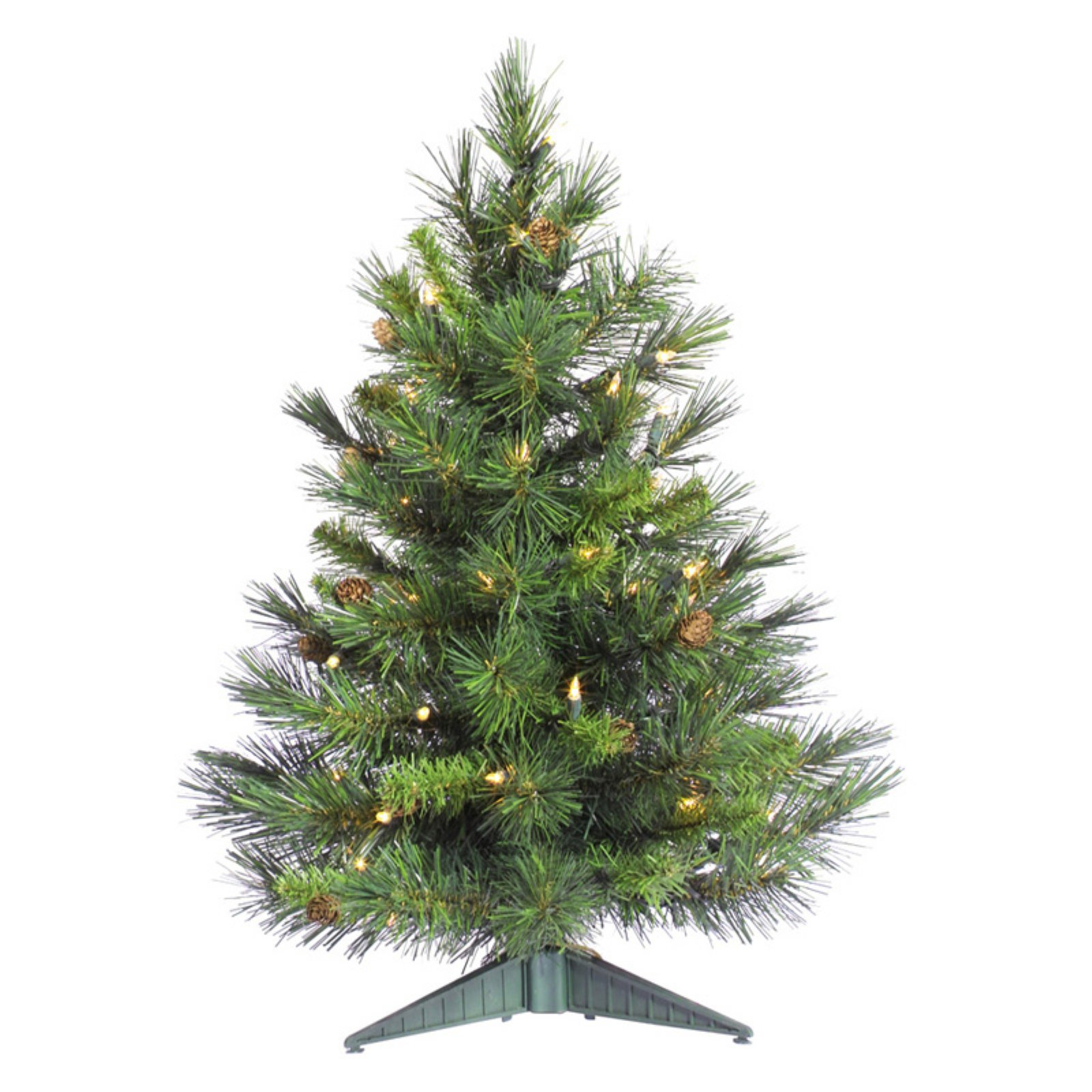 "Pre-Lit 24"" x 17"" Cheyenne Pine Dura-Lit Artificial Christmas Tree, Green, Clear Lights"
