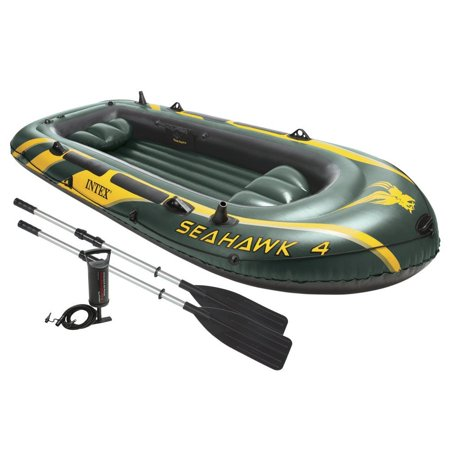 Intex Seahawk 4 Inflatable 4 Person Floating Boat Raft Set with Oars & Air -