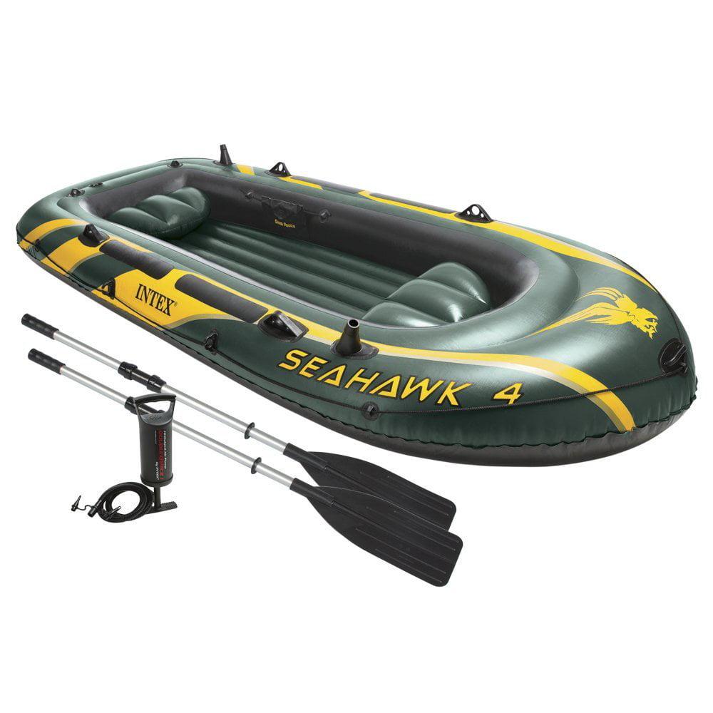 Intex Recreation Seahawk 4 Set, W/ 48 Inches Aluminum (Silver) Oars & High-Output Pump