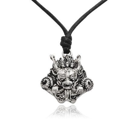 Japanese Dragon Hannya Mask Silver Pewter Charm Necklace Pendant Jewelry With Cotton Cord