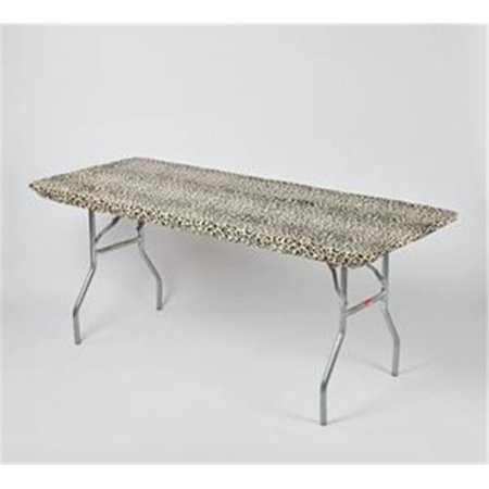 30 x 96 in. Fitted Plastic Table Covers With Elastic - Leopard - Leopard Table