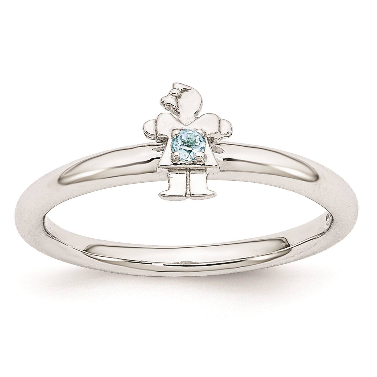 925 Sterling Silver Rhodium Plated Blue Topaz Girl Stackable Ring Size 8