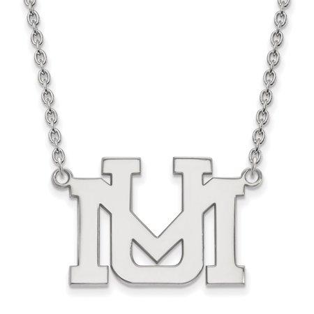 Lex & Lu LogoArt 14k White Gold University of Montana Large Pendant w/Necklace