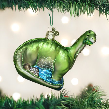 Old World Christmas Brontosaurus Dinosaur Glass Tree Ornament 12471 FREE BOX New - Dinosaur Ornament