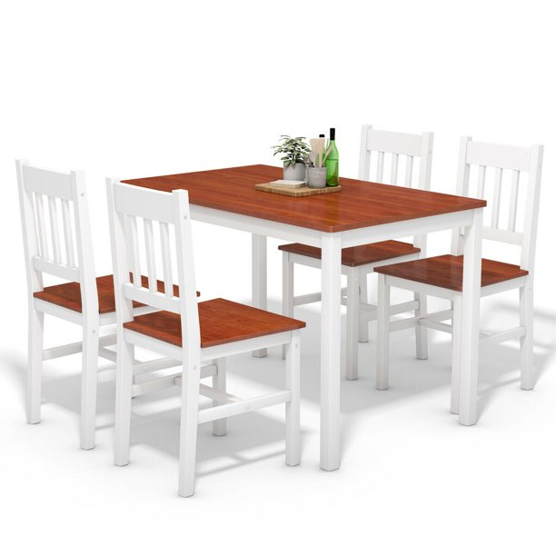 Gymax 5 Piece Dining Table Set 4 Chairs Solid Wood Home Kitchen Breakfast Furniture Walmart Com Walmart Com