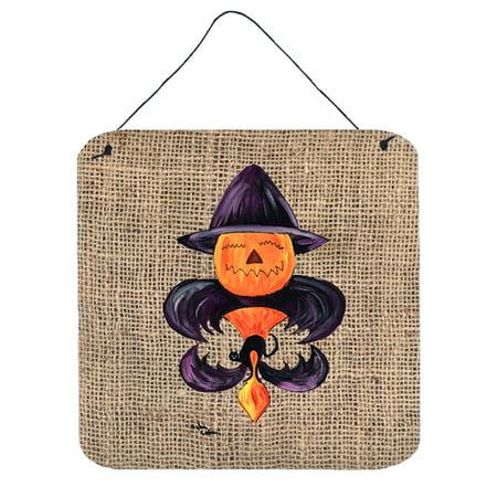 Halloween Pumpkin Bat Fleur de lis Aluminium Metal Wall or Door Hanging Prints](Metal Cover This Is Halloween)
